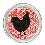 C167-RD-Black Rooster on Red Coaster