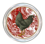 C168 - PDR-Rooster on Red Toile Coaster
