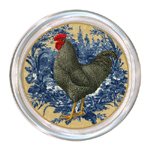 C168 -RY-Black & White Speckled French Rooster on Blue Toile Coaster