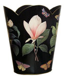 WB1-Black-Floral 1 Wastepaper Basket