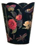 WB6-BK-Black/Rose & Iris Wastepaper Basket