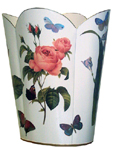 WB7-White- Pink Roses and Blue Irises Wastepaper Basket