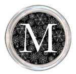 C1143-Black Snowflake Personalized Coaster