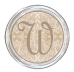 C1229-Beige Damask Personalized Coaster