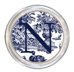 C435-Navy Toile Personalized Coaster