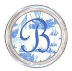 C548-Blue Boat Toile Personalized Coaster