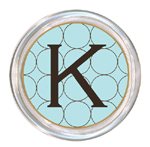 C585-Brown & Blue Circles  Personalized Coaster