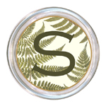 C589-Ferns on Creme Personalized Coaster
