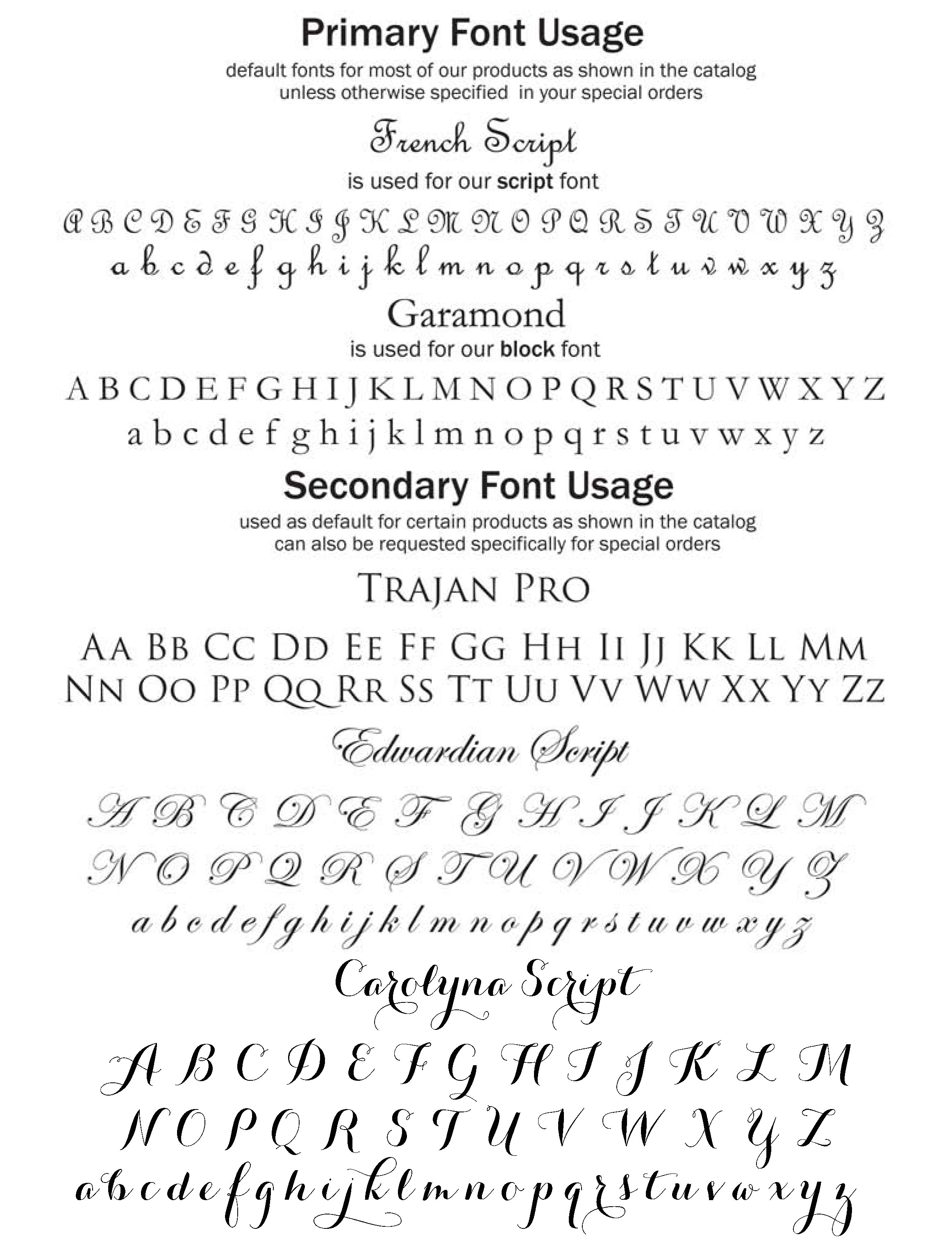 Marye-Kelley Font Usage