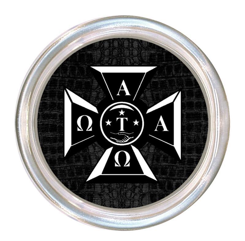 C1995 Alpha Tau Omega Badge On Black Crock Coaster