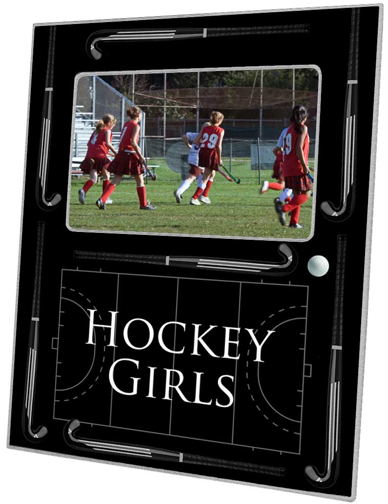 F2495 - Black Field Hockey Picture Frame