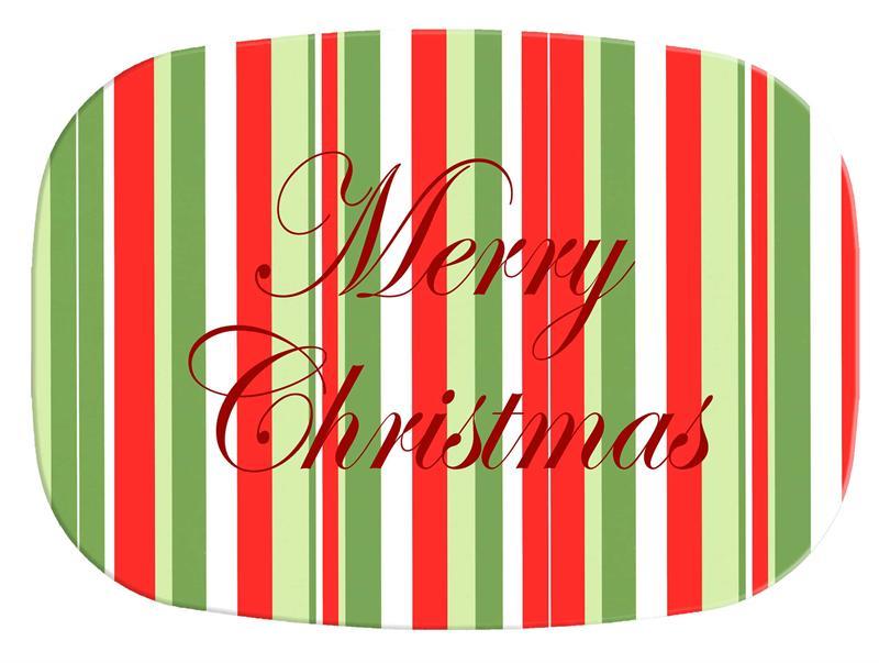 sc 1 st  Marye-Kelley Decoupage & M1249-Large Christmas Stripe Personalized Melamine Plate/ Platter