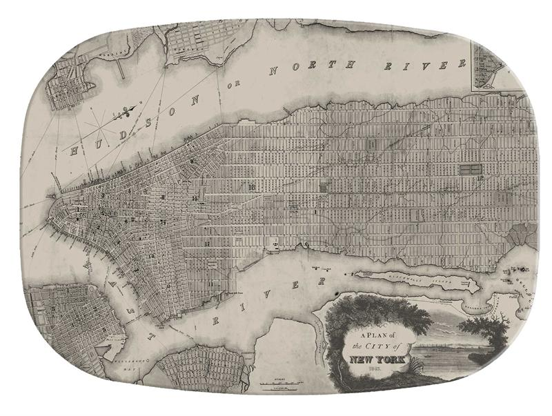 sc 1 st  Marye-Kelley & M1514-Antique New York Map Personalized Melamine Plate/ Platter