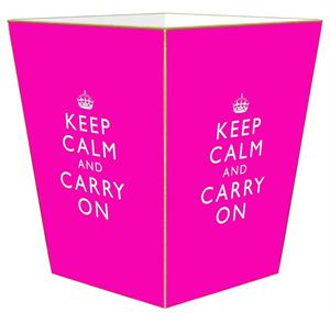 WB2631 - Hot Pink Keep Calm and Carry On Wastepaper Basket