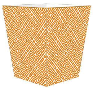 WB2658 - Orange &amp; White Fret Pattern Wastepaper Basket