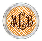 C2658 - Orange & White Fret Monogrammed Coaster