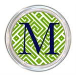 C2678 - Lime & White Fret Monogrammed Coaster