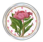 C348 - Pink Peony Closed on Provencial Print Personalized Coaster