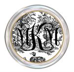 C443 - Single Initial on Black Toile Coaster