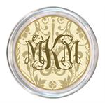 C451- Creme & Gold Damask Personalized Coaster