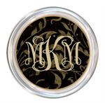 C855-Black Damask Personalized Coaster