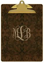 CB1805-Brown Antique Damask Personalized Clipboard