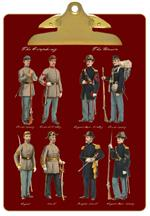 CB1868-Civl War Soldiers on Red Personalized Clipboard
