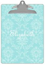 CB1873-Robin's Egg Blue Damask Personalized Clipboard