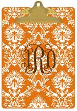 CB2532-Orange Damask Personalized Clipboard