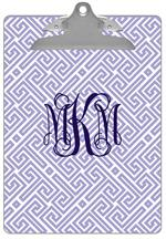 CB2657 - Lavender & White Fret Personalized Clipboard