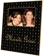 F1216-Black & Gold Fleur de Lis Personalized Picture Frame