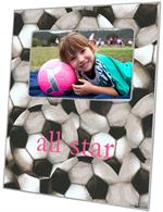 F1226-Antique Soccer-Pink Text Personalized Picture  Frame