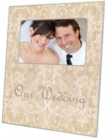 F1229-Beige Damask Personalized Picture  Frame