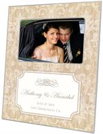 F1229 i - Beige Damask with Inset Personalized Picture Frame