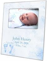 F1261-Blue Baby Feet Birth Announcement Personalized Picture  Frame