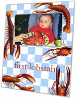 F1401-Lobsters on Gingham Personalized Picture Frame