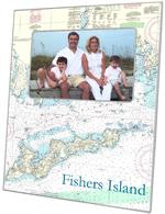F1490- Fisher's Island Nautical Chart Picture Frame