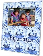 F1523-Delft Blue Sailboat Personalized Picture Frame