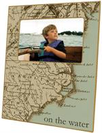 F1535-North Carolina Coast Map Personalized Picture Frame