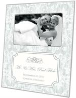 F1804-I - Antique Silver Damask with Inset Wedding Picture Frame