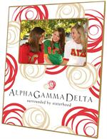 F2125 - Alpha Gamma Delta Logo Picture Frame Red & Tan Curly Curls