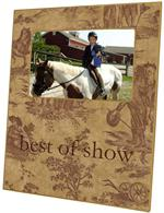 F225-Brown Horse Toile Personalized Picture Frame