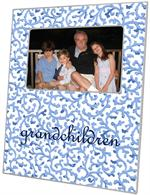 F37-Blue Waverly Scroll Personalized Picture Frame