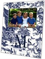 F435-Navy Toile Personalized Picture Frame
