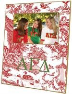 F987 - Alpha Gamma Delta Red Toile  Picture Frame