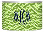 LB2678 - Lime  & White Fret Decoupage Letterbox