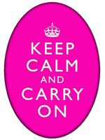 PW2631 - Keep Calm And Carry On Hot Pink Oval Flat Paperweight