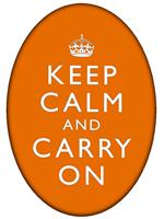 PW2632 - Keep Calm And Carry On Orange Oval Flat Paperweight