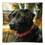 P121- Black Lab Square Decoupage Plate
