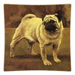 P125- Fawn Pug Square Decoupage Plate